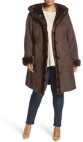 Gallery Plus Size Women's Faux Shearling A-Line Coat