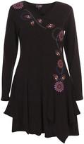 Coline Women's Casual Dresses BLACK - Black Floral Embroidered Handkerchief Dress - Women & Plus