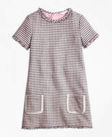 Brooks Brothers Cotton Blend Houndstooth Tweed Dress