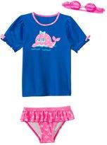 Jump N Splash Girls' Happy Whale TwoPiece Short Sleeve Rashguard Set w/ Free Goggles (4-6X) - 8143059