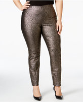 Alfani Plus Size Metallic Pull-On Skinny Pants, Only at Macy's