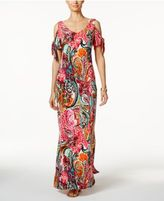 MSK Cold-Shoulder Paisley Print Maxi Dress
