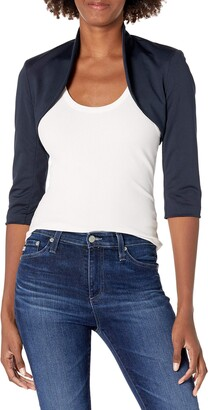 Tiana B Women's 3/4 Sleeve Solid Jersey Bolero Jacket with Collar at Neckline