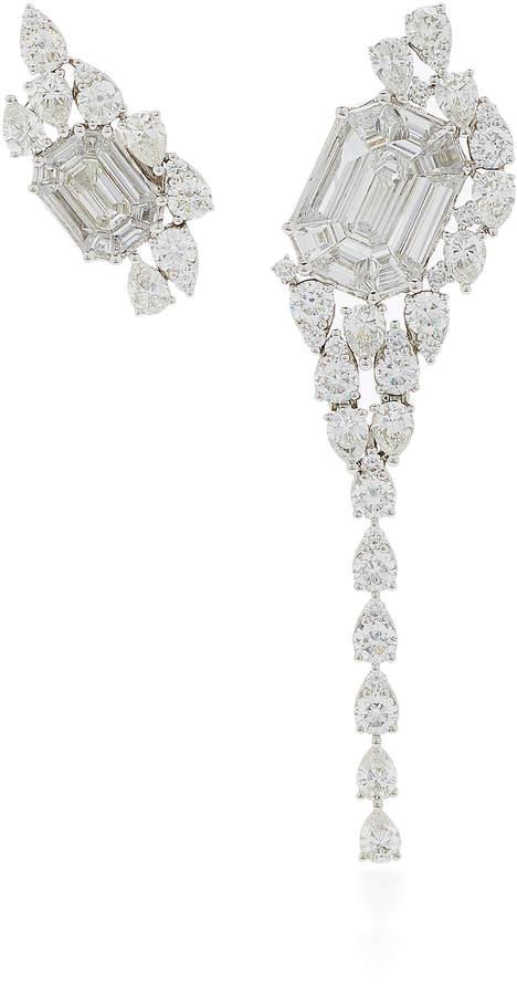 As 29 AS29 Illusion Diamond & 18K White Gold Asymmetrical Earrings