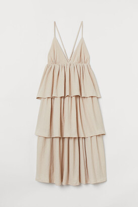 H&M Tiered V-neck Dress - Beige
