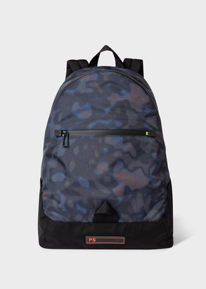 Paul Smith Men's Black 'Heat Map Camo' Canvas Backpack