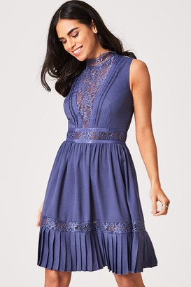 Little Mistress AnaAs Lavender Grey Lace-Trim Skater Dress