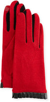 Portolano Cashmere-Blend Leather-Cuffed Tech Gloves, Red/Black