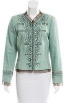 Carolina Herrera Embroidered Ribbon-Accented Jacket