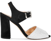 Eight Metallic Textured-Leather And Suede Sandals