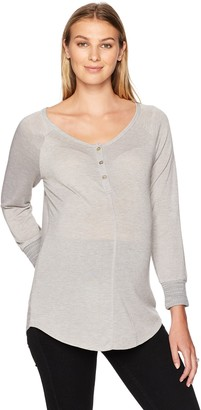 Everly Grey Women's Amelia Maternity and Nursing Button Front Henley Top
