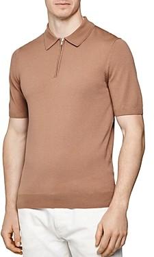 Reiss Maxwell Merino Wool Slim Fit Zip Polo Shirt