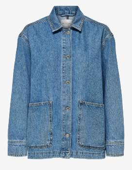 Selected Medium Blue Spencer Loose Fit Denim Jacket - Organic Cotton   blue   size 36 - Blue/Blue