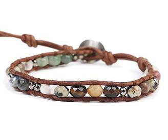 Chan Luu Multi Color Semi Precious Mineral Stone Beaded Leather Single Wrap Bracelet