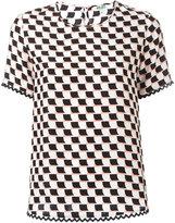 Kenzo geometric print T-shirt - women - Silk - 36