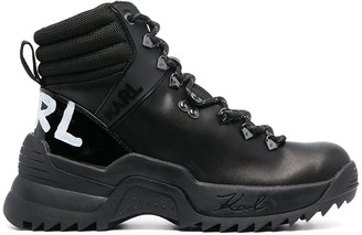 Karl Lagerfeld Paris Lace-Up Leather Combat Boots