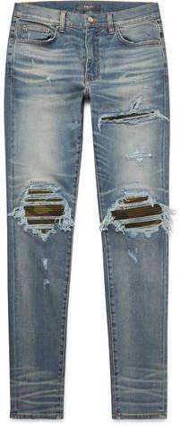 Amiri Mx1 Skinny-Fit Camouflage Print-Panelled Distressed Stretch-Denim Jeans