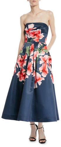 David Meister Strapless Fit-&-Flare Floral Dress w/ Pockets