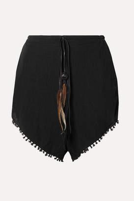 CARAVANA Tizimin Leather And Feather-trimmed Fringed Cotton-gauze Shorts - Black