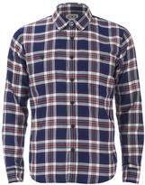 Edwin Labour Herringbone Seersucker Shirt Blue