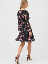 Wallis Floral Ruffle Sleeve Fit & Flare Dress - Black