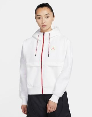 Jordan Nike Urban MTN fleece zip-through hoodie in white