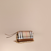 Burberry House Check and Leather Clutch Bag, Brown