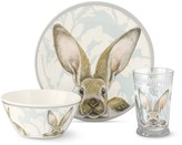 Damask Bunny Kids Melamine Dinnerware Set