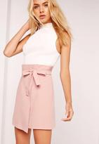 Missguided Paper Bag Waist Wrap Mini Skirt Pink