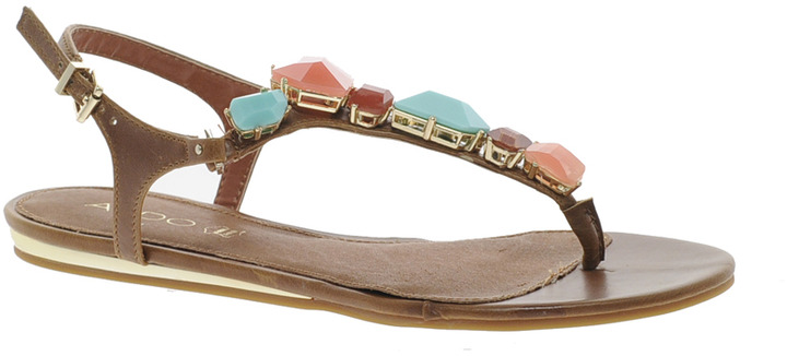 Aldo Kallole Tan Jewelled Toepost Sandals