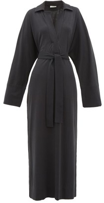 Lemaire Polo-collar Belted Cotton-jersey Shirtdress - Womens - Navy