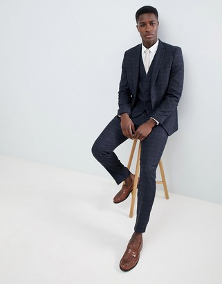 French Connection Tweed Square Slim Fit Heritage Suit Pants-Blue