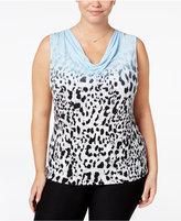 Calvin Klein Plus Size Snow Leopard-Print Cowlneck Blouse