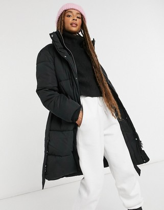 Monki Maxima padded coat with belt in black