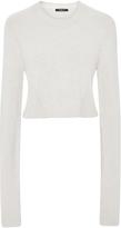 Derek Lam Cashmere Cotton Crew Neck Cropped Sweater