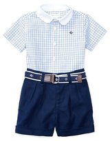 Ralph Lauren Short-Sleeve Check Shirt w/ Belted Shorts, Multicolor, Size 3-24 Months
