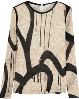Max Mara Printed Plissé Georgette Top - Cream