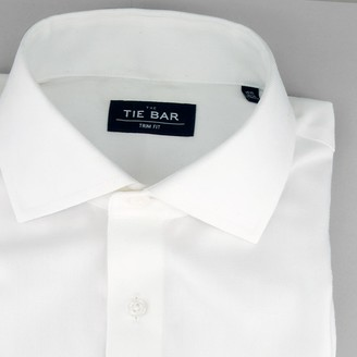 Tie Bar Herringbone White Non-Iron Dress Shirt