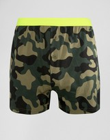 Asos Jersey Boxers With Camo Print & Neon Waistband