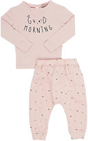 "Emile et Ida Good Morning"" Cotton Jersey T-Shirt & Leggings Set-PINK"