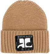 Courreges logo patch knitted beanie