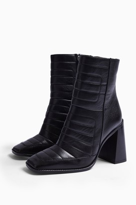 Topshop Womens Millenial Black Leather Boots - Black