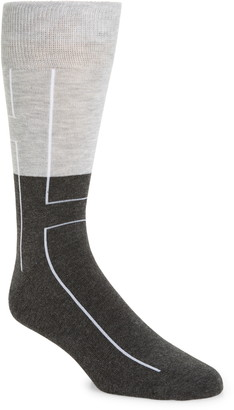 Nordstrom CoolMax(R) Linear Colorblock Tall Dress Socks