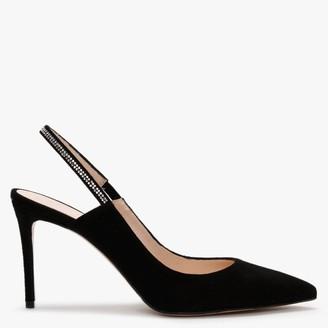 Daniel Fillion Black Suede Diamante Sling Back Court Shoes