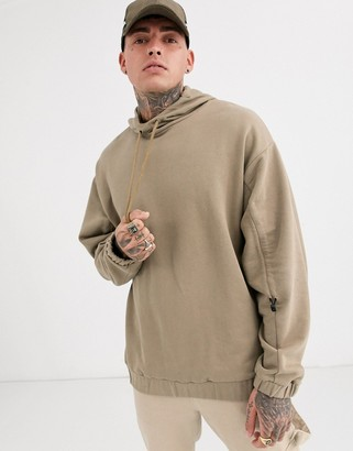 ASOS DESIGN oversized hoodie with ruched sleeves in tan
