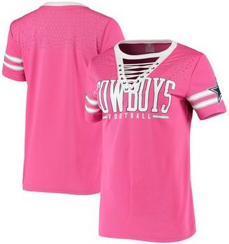 Women's Pink Dallas Cowboys Lace-Up Giselle Rhinestone Jersey T-Shirt