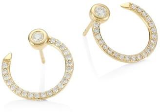 Sydney Evan 14K Yellow Gold & Pave Diamond Nail Hoop Earrings