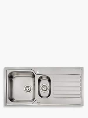 John Lewis & Partners 1.5 Bowl Inset Stainless Steel Kitchen Sink & Drainer, Brushed Steel