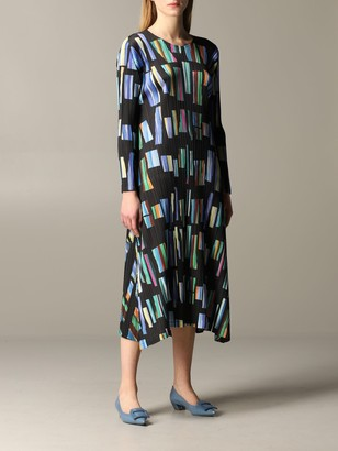 Issey Miyake Patterned Pleated Dress