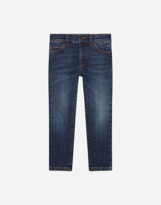 Dolce & Gabbana Stretch Slim-Fit Jeans With Embroidered Logo
